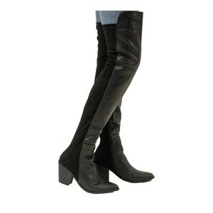 Women's Chunky Heel Black Over The Knee Boots